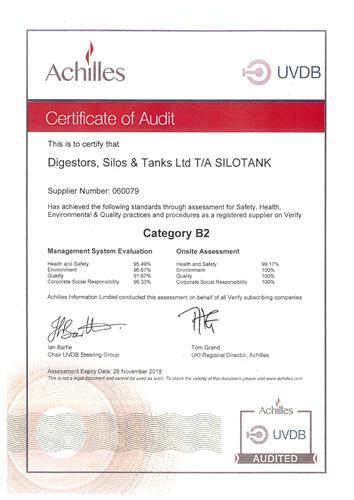 achiles - certificate of audit