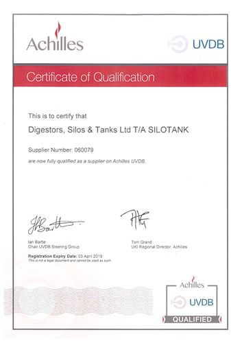 achilles - certificate of qualification