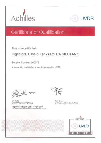 achilles - certificate of qualification